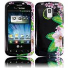 Hard Plastic Design Case for LG Enlighten VS700/Optimus Slider LS700 - Black and Green Flowers