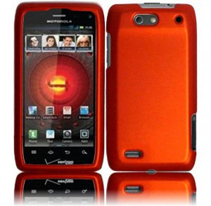 Hard Plastic Rubber Feel Case for Motorola Droid 4 XT894 (Verizon) - Orange