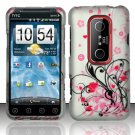 Hard Plastic Rubber Feel Design Case for HTC Evo 3D - Silver and Pink Flowers