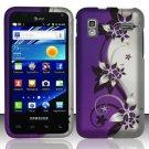 Hard Plastic Rubber Feel Design Case for Samsung Captivate Glide 4G - Silver and Purple Vines