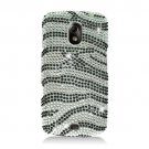 Hard Plastic Bling Rhinestone Design Case for Samsung Galaxy Nexus (Verizon/Sprint) - Silver Zebra
