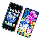 Hard Plastic Glossy Design Cover Case for Apple iPhone 4/4S - Colorful Blossom