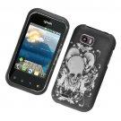 Hard Plastic Rubber Feel Design Case for LG myTouch Q C800/Maxx Q - Skull and Angels