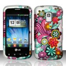 Hard Plastic Rubber Feel Design Case for LG Enlighten VS700/Optimus Slider - Purple & Blue Flowers