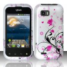 Hard Plastic Rubber Feel Design Case for LG myTouch Q C800/Maxx Q - Silver and Pink Flowers