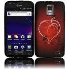 Hard Plastic Rubber Feel Design Case for Samsung Galaxy S II Skyrocket i727 - Red Heart