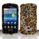 Hard Plastic Bling Rhinestone Design Case for Samsung Stratosphere i405 - Golden Cheetah