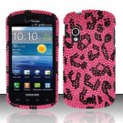Hard Plastic Bling Rhinestone Design Case for Samsung Stratosphere i405 - Hot Pink Leopard