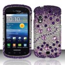 Hard Plastic Bling Rhinestone Design Case for Samsung Stratosphere i405 - Purple and Silver