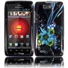Hard Plastic Design Case for Motorola Droid 4 XT894 (Verizon) - Black and Blue Flower