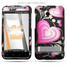 Hard Plastic Rubber Feel Design Case for HTC Thunderbolt 4G (Verizon) - Exotic Heart