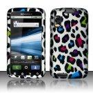 Hard Plastic Rubber Feel Design Case for Motorola Atrix 4G MB860 - Rainbow Leopard