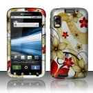 Hard Plastic Rubber Feel Design Case for Motorola Atrix 4G MB860 - Red and Gold Flowers
