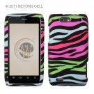 Hard Plastic Rubber Feel Design Case for Motorola Droid 4 XT894 (Verizon) - Colorful Zebra