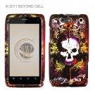 Hard Plastic Rubber Feel Design Case for Motorola Droid 4 XT894 (Verizon) - Skull and Lion