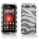 Hard Plastic Bling Rhinestone Design Case for Motorola Droid 4 XT894 - Silver & Black Zebra
