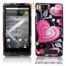 Hard Plastic Rubber Feel Design Case for Motorola Droid X/X 2 - Exotic Heart