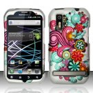 Hard Plastic Rubber Feel Design Case for Motorola Photon 4G - Purple and Blue Flowers