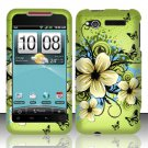 Hard Plastic Rubber Feel Design Case for HTC Merge 6325 - Green Flowers and Butterfly