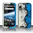 Hard Plastic Rubber Feel Design Case for Motorola Atrix 4G MB860 - Silver and Blue Vines
