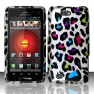 Hard Plastic Rubber Feel Design Case for Motorola Droid 4 XT894 (Verizon) - Rainbow Leopard