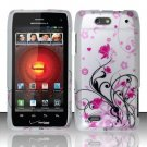Hard Plastic Rubber Feel Design Case for Motorola Droid 4 XT894 (Verizon) - Silver and Pink Flowers