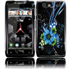 Hard Plastic Design Case for Motorola Droid RAZR Maxx XT916 - Black and Blue Flower