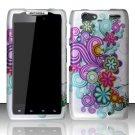 Hard Plastic Rubber Feel Design Case for Motorola Droid RAZR Maxx XT916 - Purple & Blue Flowers