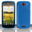 Soft TPU Gel Skin Cover Case for HTC One S/Ville (T-Mobile) - Blue