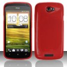 Soft TPU Gel Skin Cover Case for HTC One S/Ville (T-Mobile) - Red