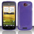 Soft TPU Gel Skin Cover Case for HTC One S/Ville (T-Mobile) - Purple