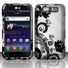 Hard Plastic Rubberized Design Case for LG Connect 4G (MetroPCS)/Viper 4G (Sprint) - Black Vines
