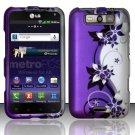 Hard Plastic Rubberized Design Case for LG Connect 4G (MetroPCS)/Viper 4G (Sprint) - Purple Vines