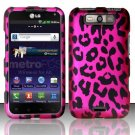 Hard Plastic Rubberized Design Case for LG Connect 4G (MetroPCS)/Viper 4G (Sprint) - Pink Leopard