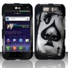 Hard Plastic Rubberized Design Case for LG Connect 4G (MetroPCS)/Viper 4G (Sprint) - Spade Skull