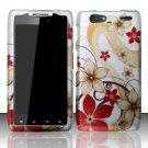 Hard Plastic Rubber Feel Design Case for Motorola Droid RAZR Maxx XT913/XT916 - Red and Gold Flowers