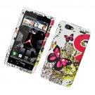 Hard Plastic Rubber Feel Design Case for Motorola Droid RAZR Maxx XT913/XT916 - Dual Pink Butterfly