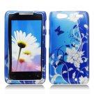 Hard Plastic Design Case for Motorola Droid RAZR Maxx XT913/XT916 - Blue Flowers and Butterfly