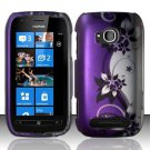 Hard Plastic 2 Piece Snap On Rubberized Case for Nokia Lumia 710 - Silver and Purple Vines