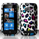 Hard Plastic 2 Piece Snap On Rubberized Case for Nokia Lumia 710 - Rainbow Leopard