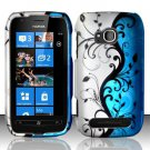 Hard Plastic 2 Piece Snap On Rubberized Case for Nokia Lumia 710 - Silver and Blue Vines