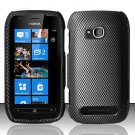 Hard Plastic 2 Piece Snap On Rubberized Case for Nokia Lumia 710 - Carbon Fiber