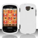 Hard Plastic 2 Piece Snap On Rubberized Case for Samsung Brightside U380 - White