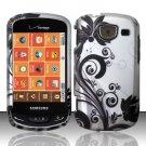 Hard Plastic Snap On Rubberized Design Case for Samsung Brightside U380 - Silver & Black Vines