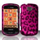 Hard Plastic Snap On Rubberized Design Case for Samsung Brightside U380 - Hot Pink Leopard
