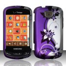 Hard Plastic Snap On Rubberized Design Case for Samsung Brightside U380 - Silver and Purple Vines