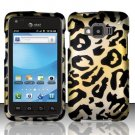 Hard Plastic Snap On Rubberized Design Case for Samsung Rugby Smart i847 - Golden Cheetah