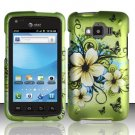 Hard Plastic Snap On Rubberized Design Case for Samsung Rugby Smart i847 - Green Flowers & Butterfly
