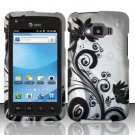 Hard Plastic Snap On Rubberized Design Case for Samsung Rugby Smart i847 - Silver and Black Vines
