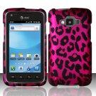 Hard Plastic Snap On Rubberized Design Case for Samsung Rugby Smart i847 - Hot Pink Leopard